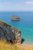 foto of heatwave  - Gull Rock Trebarwith Strand beach Cornwall near Tintagel England UK - JPG