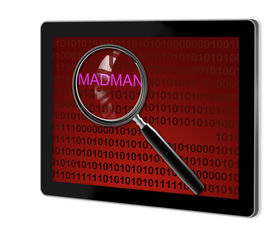 stock photo of madman  - close up of magnifying glass on madman on screen of tablet made in 3d software - JPG