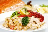 stock photo of craw  - Craw fish on the top of pasta and vegetable - JPG