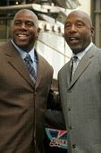 Magic Johnson and James Worthy at the Ceremony Honoring Los Angeles Lakers Owner Jerry Buss with the