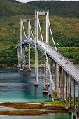 stock photo of tromso  - Bridge over the river somewhere in northern part of Norway near Tromso - JPG