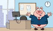 Businessman Pig Cartoon Character In Office