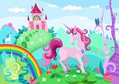 pic of unicorn  - vector illustration of a beautiful background with unicorn - JPG