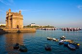 stock photo of british bombay  - Gateway of India at sunset in Mumbai - JPG