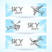 foto of military helicopter  - Aircraft military aviation sky vehicles sketch icons banners set isolated vector illustration - JPG