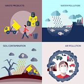 stock photo of radioactive  - Pollution waste products water soil air contamination icons flat set isolated vector illustration - JPG