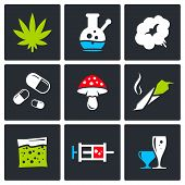stock photo of crack addiction  - Drugs icon set on a black background - JPG