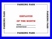 stock photo of employee month  - Painted created photo of an employee of the month parking pass - JPG