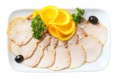 picture of charcuterie  - slices cold boiled pork on white rectangular plate isolated on a white background - JPG