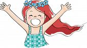 image of laugh out loud  - a happy girl with long hair Laughing out loud - JPG