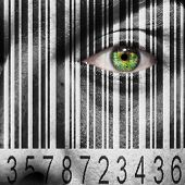 stock photo of possess  - Barcode superimposed on a mans face to suggest the concept of slavery or human trafficking - JPG