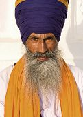 image of turban  - Portrait of Indian sikh man in turban with bushy beard - JPG