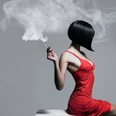pic of fine art portrait  - Fine art portrait of a beautiful lady with cigarette - JPG