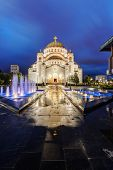 stock photo of serbia  - Saint Sava temple at night - JPG