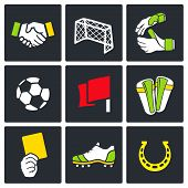 stock photo of offside  - Soccer vector color icons set on a black background - JPG
