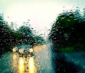 image of rainy weather  - Bad weather driving on a highway  - JPG