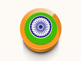 stock photo of ashoka  - Beautiful glossy icon in Indian national flag colors with Ashoka Wheel for 15th of August - JPG