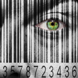 foto of slavery  - Barcode superimposed on a mans face to suggest the concept of slavery or human trafficking - JPG
