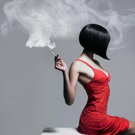 image of posh  - Fine art portrait of a beautiful lady with cigarette - JPG