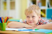 picture of schoolboys  - Elementary schoolboy listening to his teacher at lesson - JPG