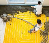 picture of convection  - Installing underfloor heating and colling pipes modern system - JPG