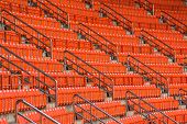 picture of bleachers  - red seats on the stadium steps bleacher - JPG