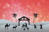 picture of nativity scene  - Nativity scene against red abstract light spot design - JPG