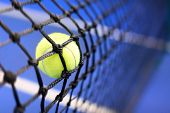 stock photo of balls  - tennis ball on a tennis court - JPG
