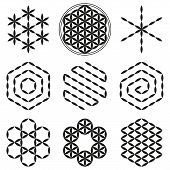 stock photo of merkaba  - Eight extracted patterns from the Flower of Life - JPG