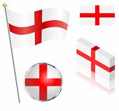 foto of flag pole  - English flag on a pole badge and isometric designs vector illustration - JPG