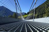picture of suspension  - Suspension bridge in the Alps - JPG