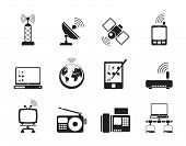 picture of televisor  - Silhouette communication and technology icons  - JPG