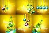 foto of merry chrismas  - Set of colorful bright Chrismas card - JPG