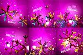 pic of merry chrismas  - Set of colorful bright Chrismas card - JPG