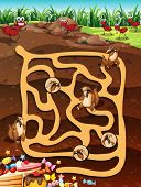 stock photo of ant-eater  - Illustration of a maze game with underground life - JPG