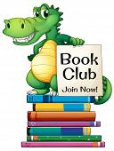 picture of storybook  - Illustration of a dragon standing on a stack of books - JPG