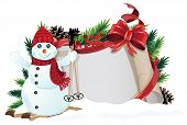 pic of winterberry  - Snowman bow ribbons and Christmas wreath with old parchment on white background - JPG