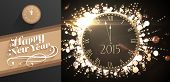 stock photo of count down  - Clock counting down to midnight against classy new year greeting - JPG