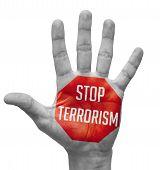 stock photo of terrorism  - Stop Terrorism Sign Painted  - JPG