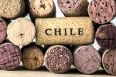 stock photo of merlot  - Several corks of Chile wine bottles on wood - JPG