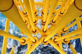 picture of gas-pipes  - Oil and Gas Producing Slots at Offshore Platform - JPG