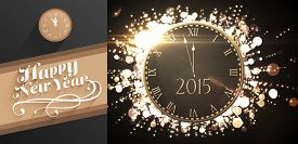 picture of cursive  - Clock counting down to midnight against classy new year greeting - JPG