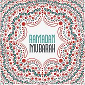picture of ramadan mubarak  - Beautiful floral design decorated pattern with wishing text Ramadan Mubarak for Muslim community festival celebration - JPG