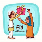 pic of eid mubarak  - Happy islamic people enjoying and giving gifts to each other on occasion of muslim community festival - JPG