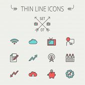 pic of antenna  - Business thin line icon set for web and mobile - JPG