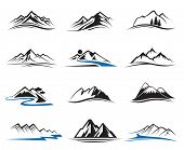 foto of mountain-high  - set of twelve mountain icons  - JPG