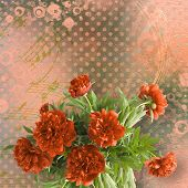 image of san valentine  - Vintage card for congratulations and invitations with bouquet of red peonies - JPG