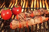 pic of kababs  - Two Roasted BBQ Beef Kababs And Tomato On The Hot Flaming Grill Close - JPG