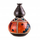 picture of cultural artifacts  - a small ceramic mexican pot isolated over a white background - JPG