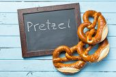picture of pretzels  - baked pretzels and chalkboard on kitchen table - JPG